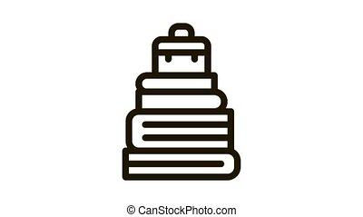 Case Heap Tower Icon Animation. black Case Heap Tower animated icon on white background