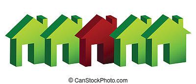 case, illustrazione, fila, disegno