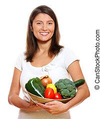case légume, femme, jeune