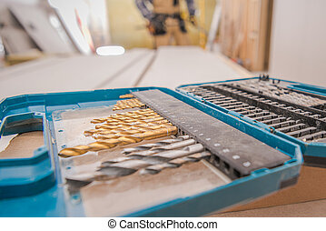 Case Of Variety Drill Bits In Golden And Silver Color Set .
