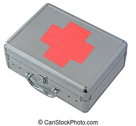 Case - Little metal case with big red cross, isolated over...
