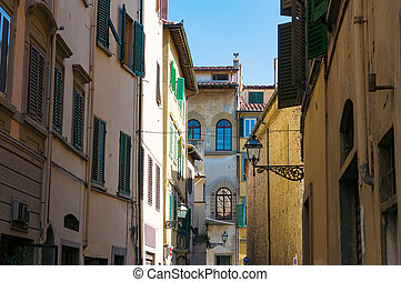 case, strada, vecchio, europeo, stretta