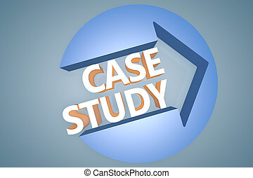 Case Study - 3d text render illustration concept with a arrow in a circle on blue-grey background