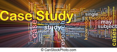 Background concept wordcloud illustration of case study glowing light