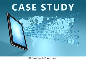Case Study illustration with tablet computer on blue...