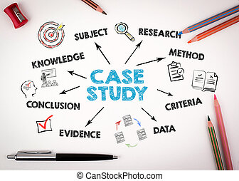 Case study Concept. Chart with keywords and icons on white desk with stationery