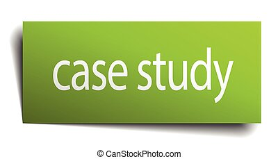 case study green paper sign on white background