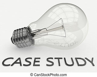 Case Study - lightbulb on white background with text under it. 3d render illustration.