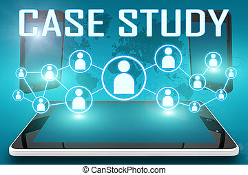 Case Study - text illustration with social icons and tablet computer and mobile cellphones on cyan digital world map background