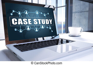 Case Study text on modern laptop screen in office environment. 3D render illustration business text concept.