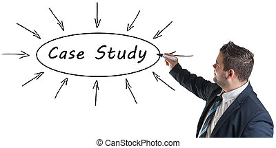 Case Study - young businessman drawing information concept...
