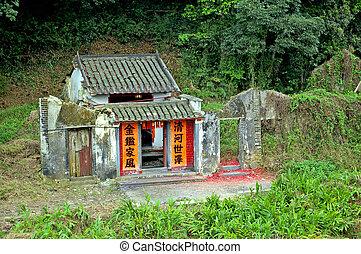 case, vecchio, cinese, villaggio