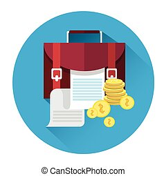 Case With Document Coins Icon Business Investment Concept