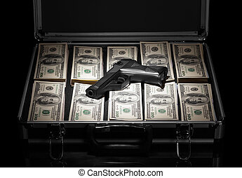 Case with money and gun - Silver case with money and gun on ...