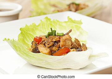 caseiro, asiático, galinha, alface, envolturas