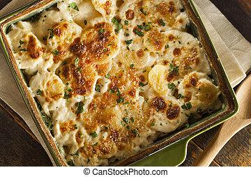 caseiro, cheesey, batatas scalloped