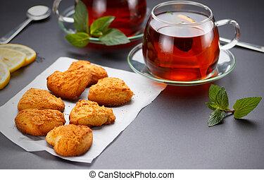 caseiro, forma coração, biscoitos, e, chá, tabela