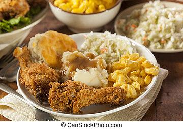 caseiro, galinha sulista, fritado