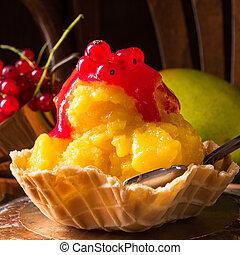 caseiro, gelo mango, creme, com, curran