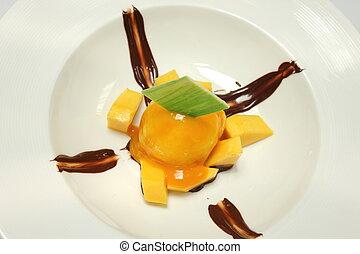caseiro, gelo mango, creme, com, fresco, mangos.