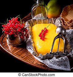 caseiro, gelo mango, creme, com, groselha
