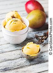 caseiro, gelo mango, creme
