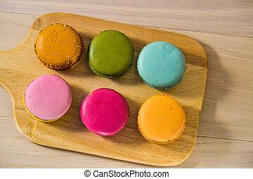 caseiro, gostosa, macarrão, biscoitos, de, diferente, cores, close-up, vista superior