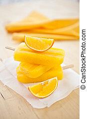 caseiro, laranja, popsicles
