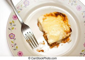 caseiro, lasanha, ligado, um, prato