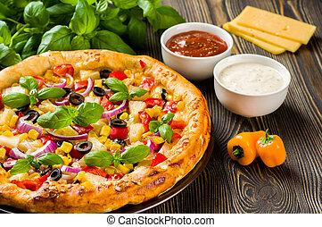caseiro, pizza