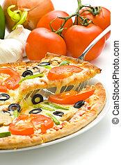 caseiro, pizza, com, fresco, tomate, azeitona, cogumelo,...