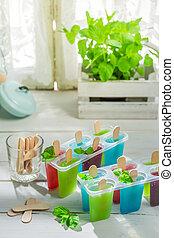caseiro, sorvete, com, frutas frescas