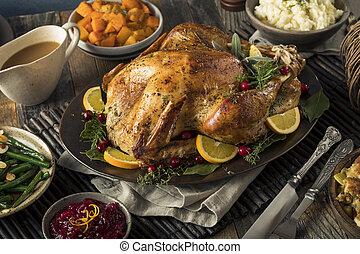 caseiro, turquia ação graças, jantar