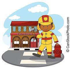 caserma dei pompieri, combattente