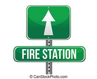 caserma dei pompieri, segno strada