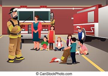 caserma dei pompieri, visitare, bambini