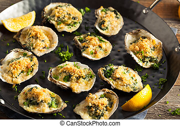 casero, cremoso, ostras, rockefeller