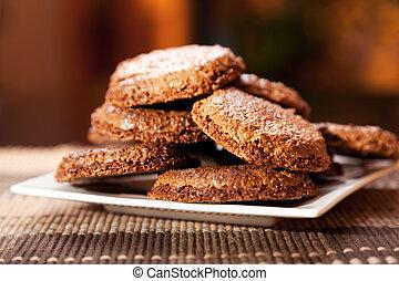 casero, galletas del chocolate, con, café