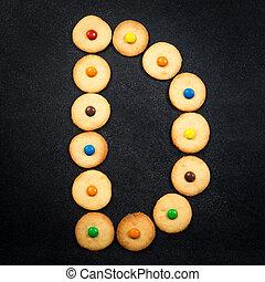 casero, niño, galletas, -, d, carta, de, el, alfabeto