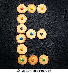 casero, niño, galletas, -, e, carta, de, el, alfabeto