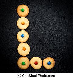 casero, niño, galletas, -, l, carta, de, el, alfabeto