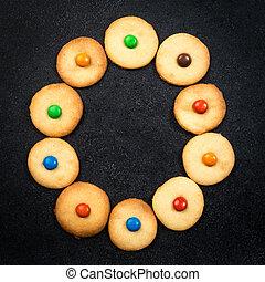 casero, niño, galletas, -, o, carta, de, el, alfabeto