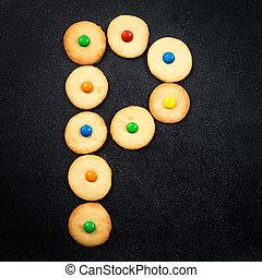 casero, niño, galletas, -, p, carta, de, el, alfabeto