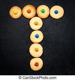 casero, niño, galletas, -, t, carta, de, el, alfabeto