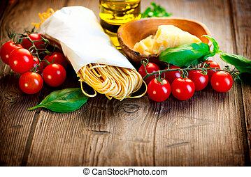 casero, parmesano, pasta., espaguetis, tomates, italiano