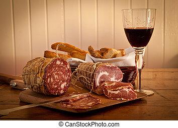casero, salame, bread, vidrio vino