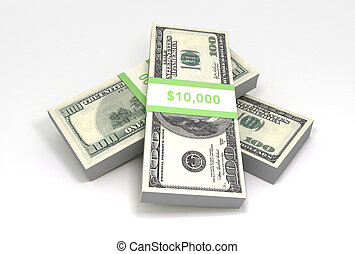 Cash - 3D rendering of a stack of cash. $100 dollar bills