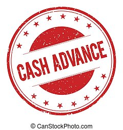 CASH-ADVANCE stamp sign text word logo red.
