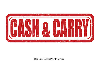 Stamp with words cash and carry inside, vector illustration