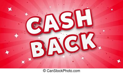 Cash Back 3D Text on Falling Confetti Background.